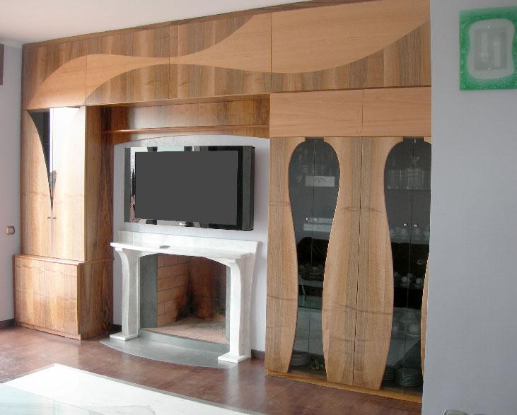 Produzione e vendita di mobili s for Parete attrezzata camino